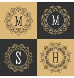 Monogram circle frame vintage luxury style vector