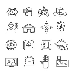 Virtual reality thin line icons equipment 3D vector image