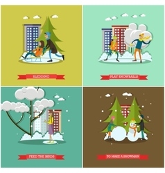 Set of winter activities concept design vector