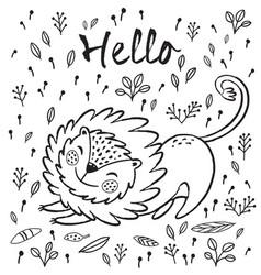 Hello cute lion cartoon vector