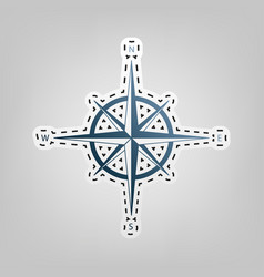 wind rose sign  blue icon with outline for vector image
