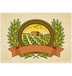 Olive harvest label vector