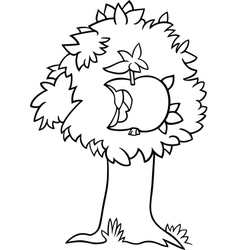 Nibbled apple on tree coloring page vector
