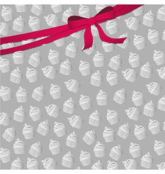 Background pattern of small silhouettes of cupcake vector