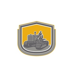 Farmer driving tractor plowing farm shield retro vector