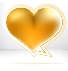 Heart shaped gold speech bubble  EPS8 vector image