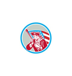 American patriot soldier waving flag circle vector