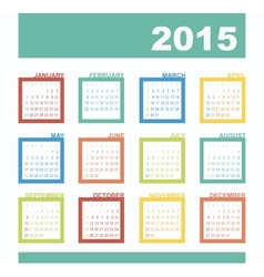 Calendar 2015 year with rectangles vector