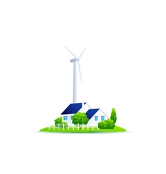 Icon eco house of green energy for the house vector