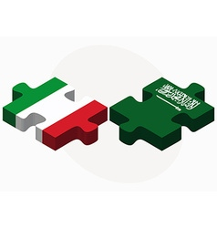 Italy and saudi arabia flags in puzzle vector