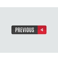 Previous web button flat design back vector