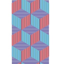 Lined 3d cubes seamless pattern geometric vector image