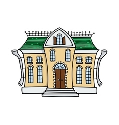 Cute colored doodle house vector