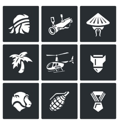 Set of the vietnam war icons soldier vector