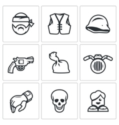 Set of criminal biker club icons biker vector