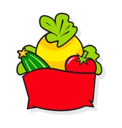Basket with vegetables vector image vector image