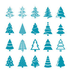 Black silhouette christmas trees stylized vector