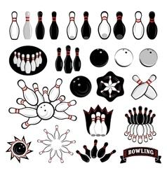 Bowling icons set vector image vector image