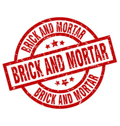 Brick and mortar round red grunge stamp vector