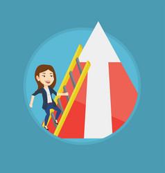 business woman climbing on mountain vector image