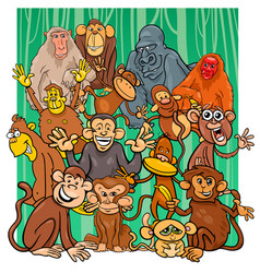 cartoon monkey characters group vector image