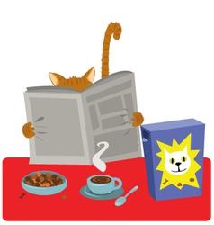 Cat Breakfast vector image