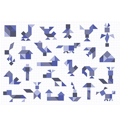 Farm animals birds tangram on a white background vector