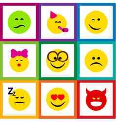 Flat icon expression set of love sad caress and vector