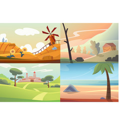Four different beautiful scenes of nature vector