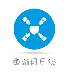 hands reach for heart sign icon save life vector image