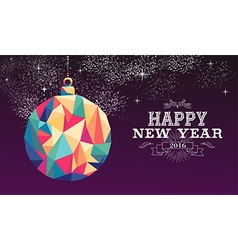 Happy new year 2016 bauble triangle hipster color vector image