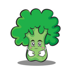hugging broccoli chracter cartoon style vector image