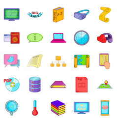 Info icons set cartoon style vector