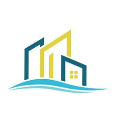 Line building wave logo vector