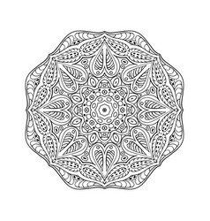 mandala doodle drawing round ornament coloring vector image vector image