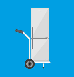 Metallic hand truck with freezer vector