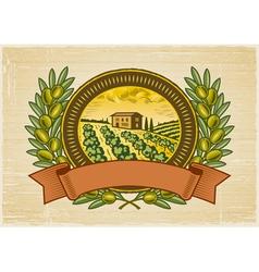 Olive harvest label vector image vector image