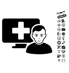 Online medicine icon with flying drone tools bonus vector