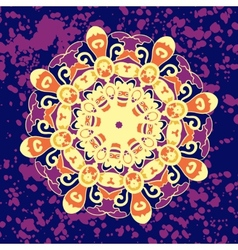 Ornamental round paisley folk motif design vector
