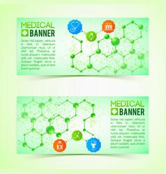 Pharmaceutics and pharmacy horizontal banners set vector