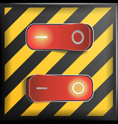 realistic toggle switch danger background vector image vector image
