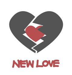 Red heart inside gray broken heart vector