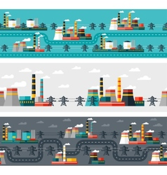 Seamless patterns of industrial power plants in vector image