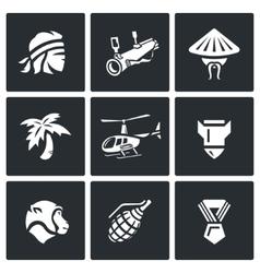 Set of the vietnam war icons soldier vector