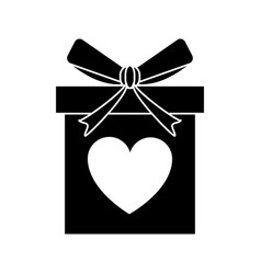 Silhouette love gift box bow wrapped vector