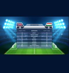 Soccer scoreboard and football stadium vector