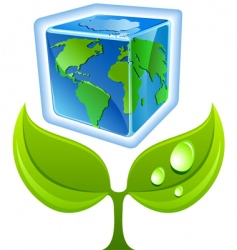 sprout with globe vector image vector image