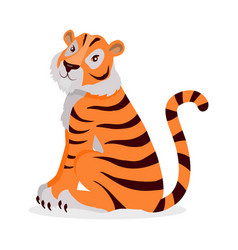 Tiger panthera tigris cartoon isolated on white vector