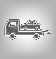 Tow car evacuation sign pencil sketch vector