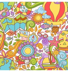 Travel summer seamless pattern in doodle style vector